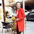 Женщины Плюс Размер L-5XL Осень Зима Шерстяные Пальто 2016 Сплошной Цвет Одной Кнопки Лоскутное Долго Случайные Пальто RS496