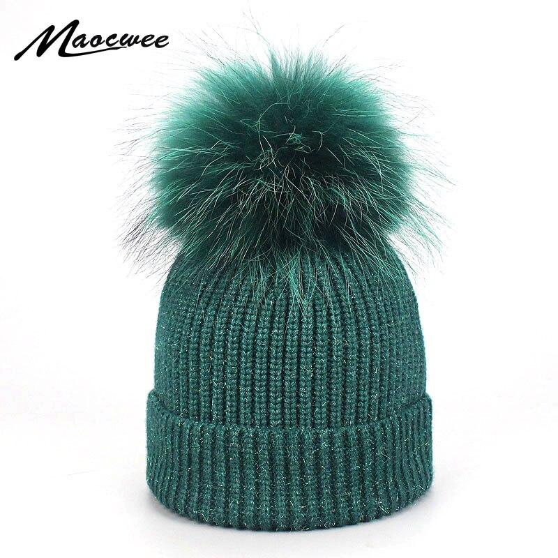 Real Raccoon Dyeing Fur Pompom Hat Women Winter Caps Knitted Wool Hats   Skullies     Beanies   Girls Female Two Fur Pom Pom   Beanie   Hat
