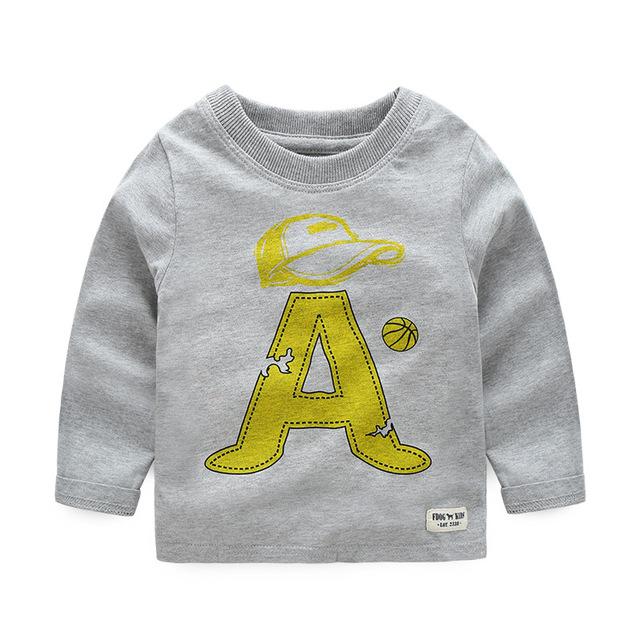 De los Bebés del otoño Impresión de la Letra T-Shirt de Algodón de Manga Larga Tops ropa de Los Niños Niñas Camisetas de Los Niños Sudadera Ropa 2-6 años