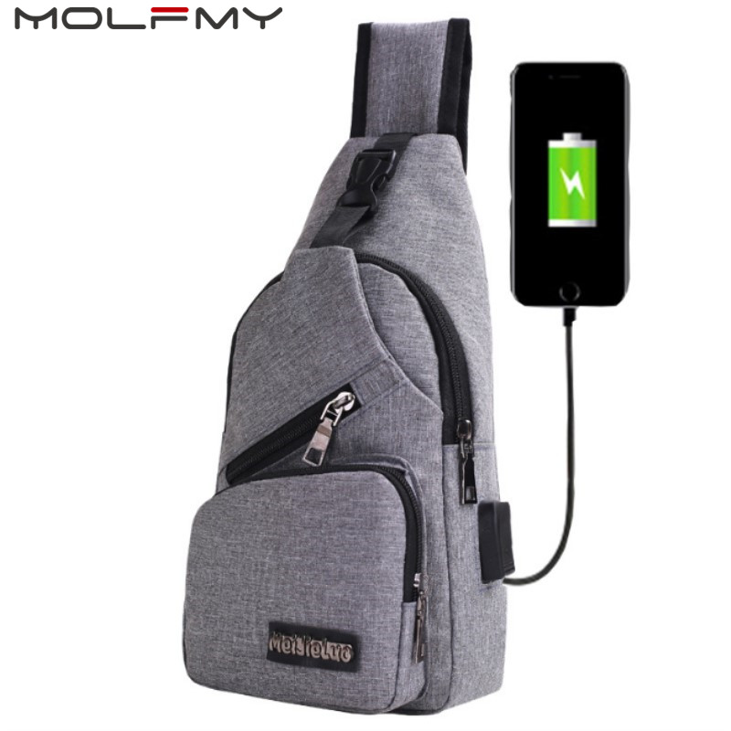 Men Back Pack Chest Pack Single Rucksack England Chest Bags Shoulder Cross Body Bag External USB Charger Backpack Boys Fast Ship
