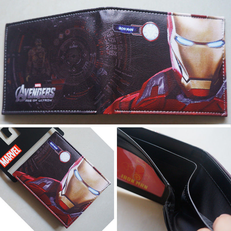 2018 New Marvel Comics Iron Man Portrait Logo wallets Purse Light Black Leather W071 туника svesta туники с длинным рукавом
