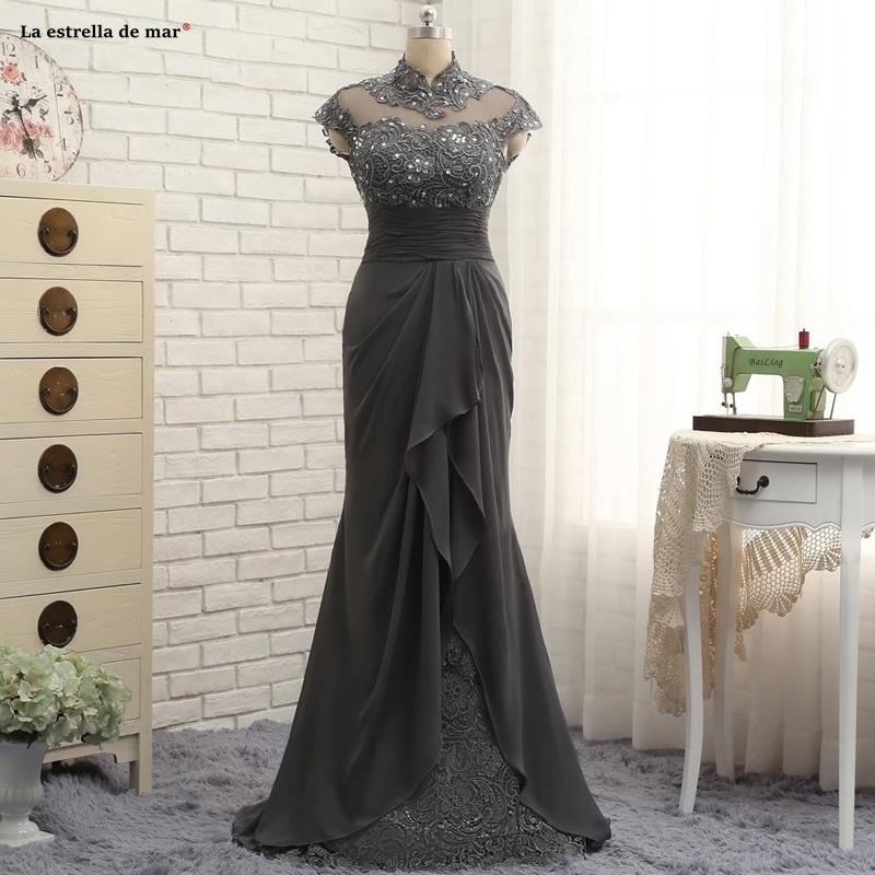 Vestido De Madrinha New High Neck Lace Chiffon Beaded Cap Sleeve Dark Gray Sexy Mermaid Mother Of The Bride Dresses Long
