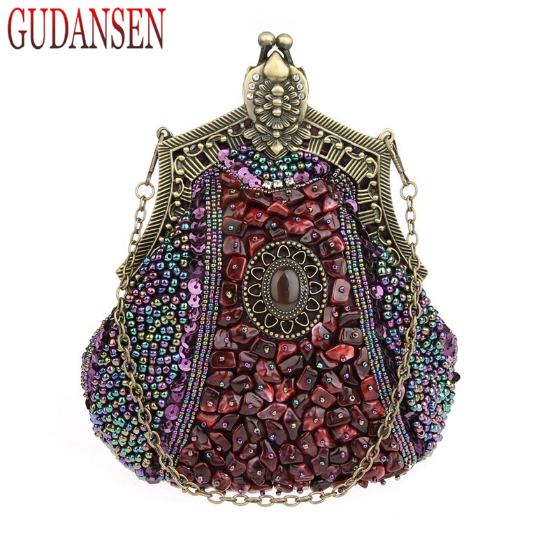 GUDANSEN Handmade Vintage women clutch Evening Bags Stone style Beaded Delicate Banquet Wedding Party bag purses and handbags famous brand russian doll women fashion handbags beaded evening bags acrylic clutch bag ladies party dinner handbags and purses