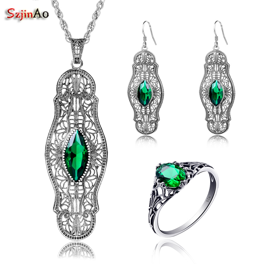 Szjinao Wholesale Emerald arty Jewelry Sets For Women Real 925 Sterling Silver Vintage Ring Earring Pendant