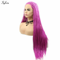 Sylvia Synthetic Lace Front Braid Wigs Rose Red Color High Quality Wig 24 Inch High Temperature Fiebr Wig Braided Wigs For Women