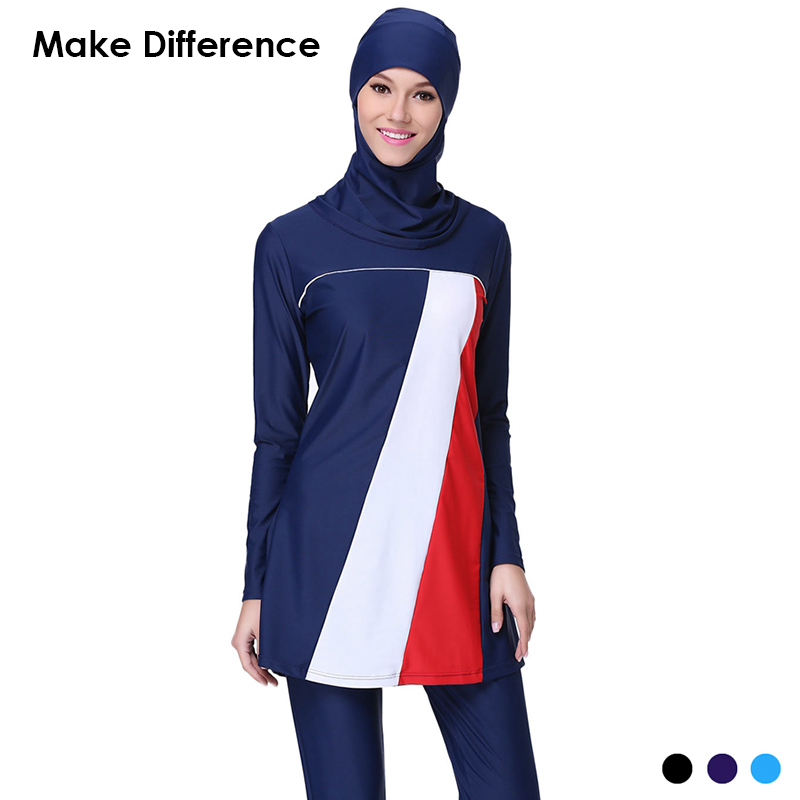 Make Difference Patchwork Muslim Swimsuit Modest Muslim Swimwear 3 Pieces Separated Hijab Islamic Suit Burkinis for Women Girls make difference leopard print islamic swimsuit arab swimwear 2 pieces connected hijab muslim swimsuit burkinis for women girls