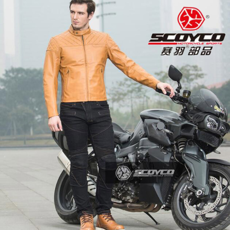 2018 New SCOYCO Motorcycle riding clothes Jacket Jeans Motocross Motorbike racing suit jackets Pants of PU Stretch denim lyca