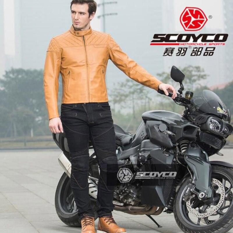 2018 nouveau SCOYCO moto équitation vêtements veste Jeans Motocross moto course costume vestes pantalon de PU Stretch denim lyca