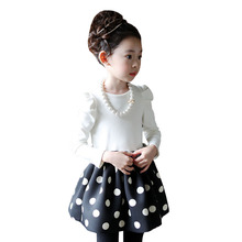 Spring Autumn Style Girls Baby Dot Patchwork Strap Dress Children Kids Graduation Gowns Brief Party Mini