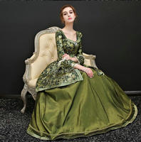 2019 Green Victorian The Ultimate Rococo Marie Antoinette Dress Colonial Georgian 18th century Fully boned dresses X 005