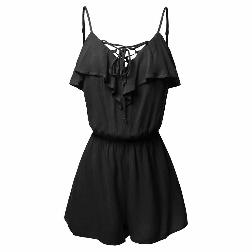 Summer jumpsuit women Sexy Black Lace Bodysuit Women Large Size S-5XL Sleeveless Overlap Front Frill Detail Shorts Playsuits