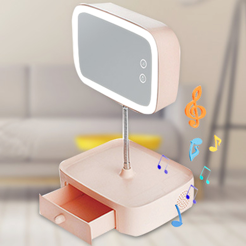 bluetooth speaker led table lamp multifunctional make up mirror rechargeable table bed lamp cosmetic mirror creative gift 1pc makeup mirror night light storage light make up cosmetic table lamp with bluetooth speaker hands free for lady gift a187