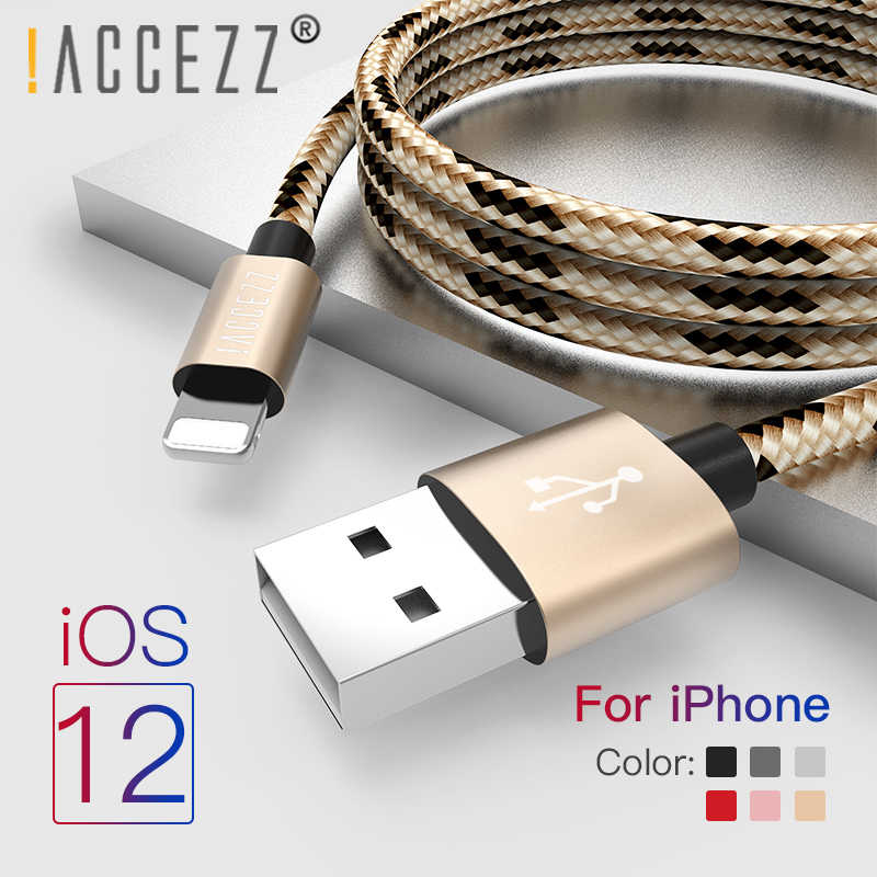 ¡! ACCEZZ para iPhone Cable de cargador para Apple iPhone XR XS MAX 8 7 6S 6 Plus de Cable de carga rápida de para iPad Mini 4 5 línea de datos de carga