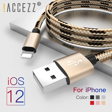 ¡! ACCEZZ para iPhone Cable de cargador para Apple iPhone XR XS MAX 8 7 6S 6 Plus de Cable de carga rápida de para iPad Mini 4 5 línea de datos de carga(China)