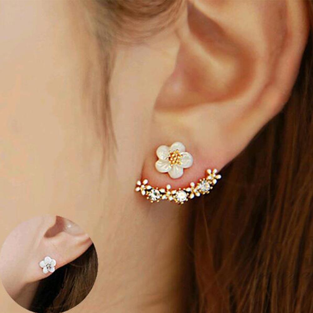 FAMSHIN 2016 Korean Fashion Imitation Pearl Earrings Small Daisy Flowers Hanging After Senior Female Jewelry Wholesale(China)