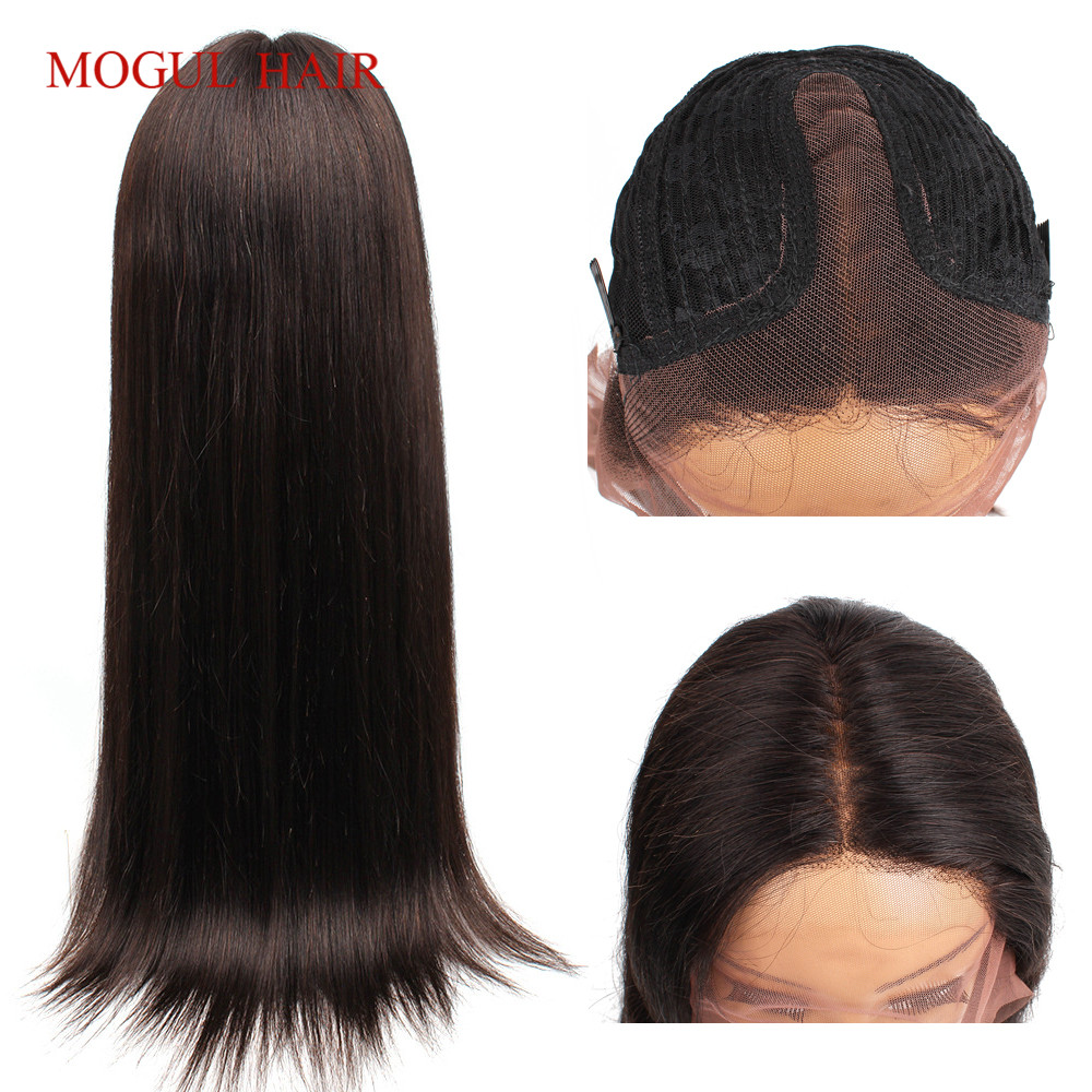 Mogul Hair T Part Lace Front Human Hair Wigs For Black Women Brazillian Hair Pre Plucked Straight Hair Wig Middle Part 14-24inch