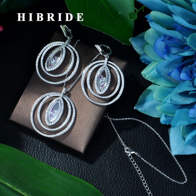 HIBRIDE Newly White Color Jewelry Sets Luxury Sparkling Cubic Zircon Wedding Earrings Necklace Jewelry Sets Heavy Dinner N-116