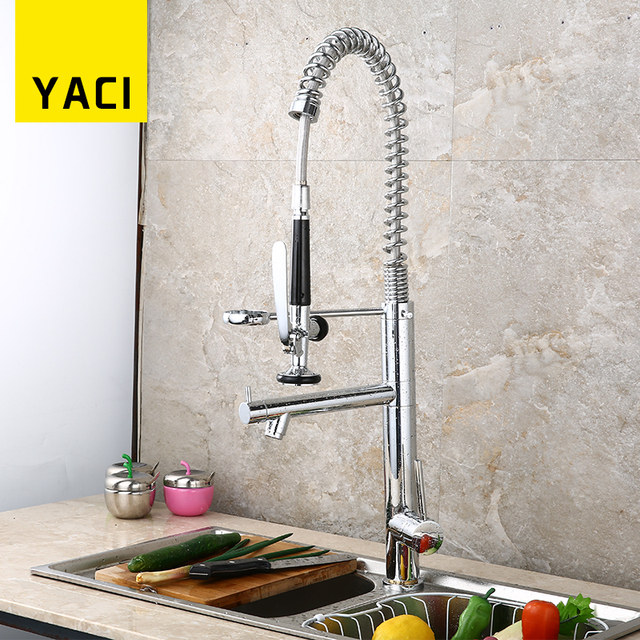 Us 178 88 Kitchen Faucet Swivel Spout Single Handle Pull Spray With Push Button Pull Down Sink Faucet Hot And Cold Water Mixer Tap Hms8004 In