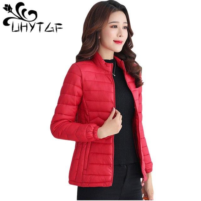 UHYTGF דק כותנה מעיל קצר חולצות חורף מעיל נשים מעיל קוריאני Slim בתוספת גודל נקבה Parka מעיל גל דפוס מרופד מעיל