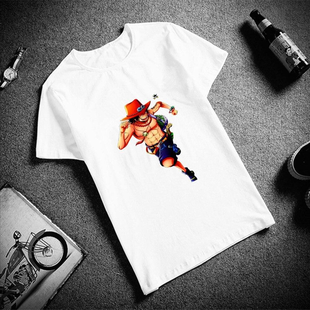 Модная футболка с короткими рукавами для мужчин One Piece Ace рисунок художественный принт с принтом 100% хлопок; Топ; Тенниска для мужчин с круглым вырезом в стиле «пара