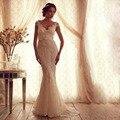 Урожай V шеи Cap рукавом империя русалка кружева свадебные платья