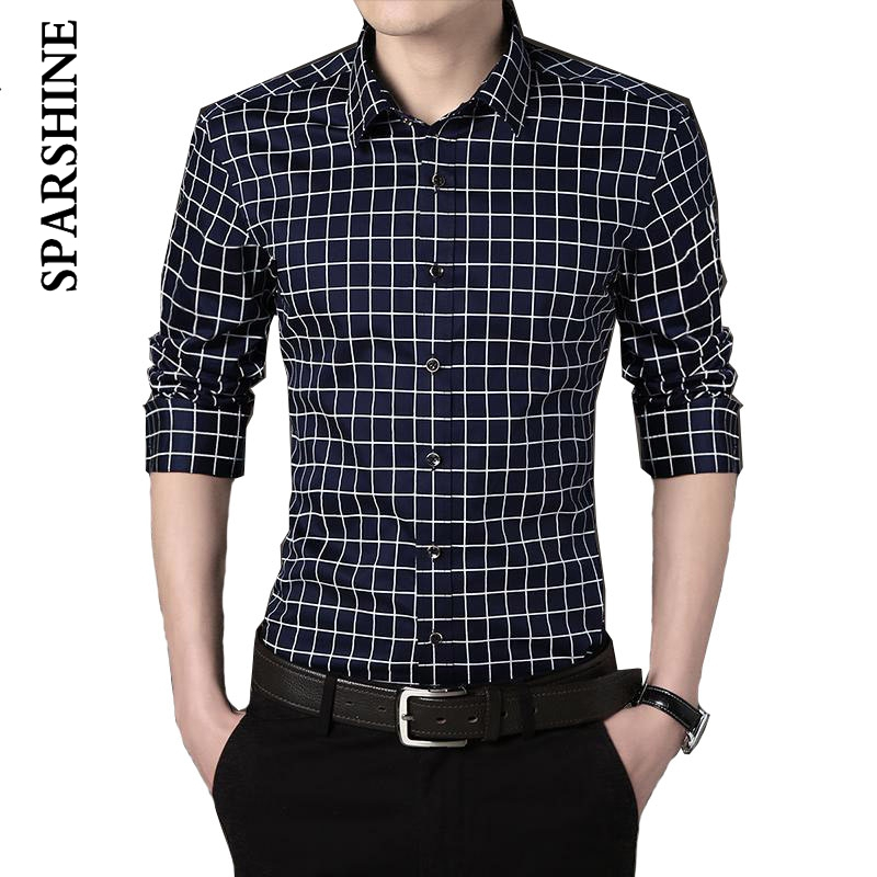 b1ef7e08f1e New spring fashion Man Shirt Pattern Design Long Sleeve plaid cotton Slim  Fit man Casual Shirt Fashion Dress Shirts business men-in Casual Shirts  from Men s ...