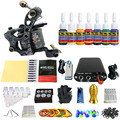 Solong Tattoo Nueva Principiante Kit de Tatuaje 1 Pro Machine Gun tip 7 colores juego de tintas de Alimentación Aguja Grips TK105-46