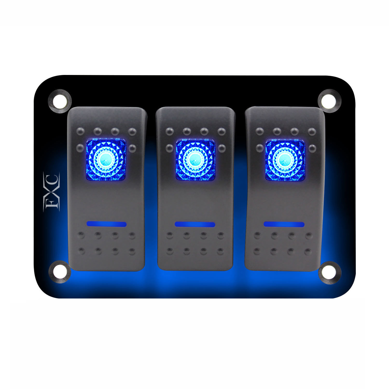 12V-24V-3-Gang-Dual-LED-Light-Rocker-Switch-Panel-Bar-Car-Caravan-Boat-Rv-Blue12V-24V-3-Gang-Dual-LED-Light-Rocker-Switch-Panel-Bar-Car-Caravan-Boat-Rv-Blue