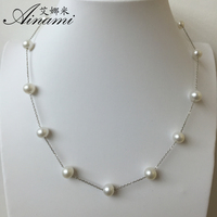 Ainami 925 Sterling Silver Tin Cup Necklaces Natural Freshwater Pearl Choker Necklace Hot Sale Free