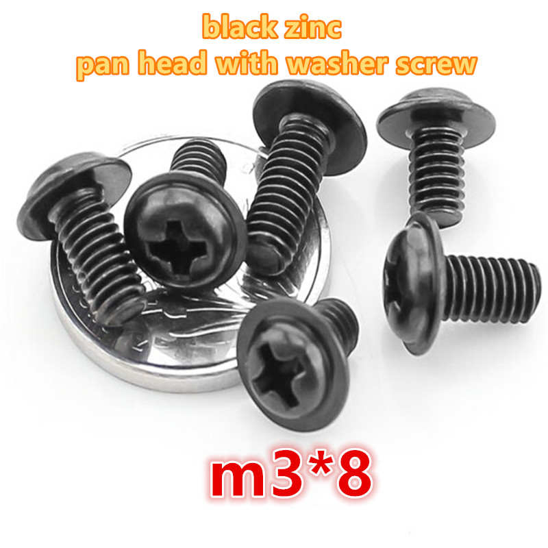 500pcs m3*8 carbon steel with black zinc plated phillip pan / round head with washer electronic screw computer screw