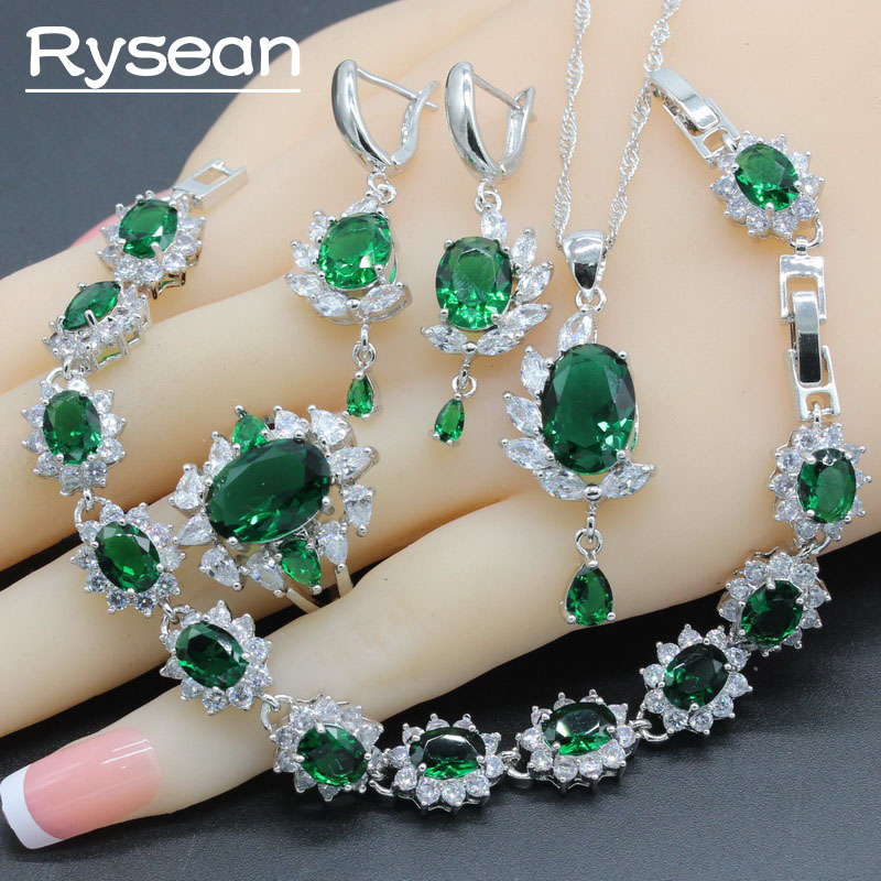 Jewelry-Sets Earrings Necklace Pendant Crystal 925-Sterling-Silver Zirconoia White Green