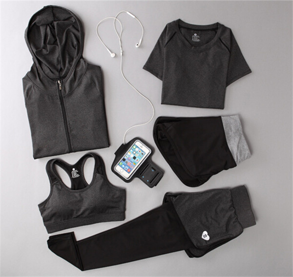 Women Yoga Suit Outfit Fitness Clothes Running Outdoor Jogging Clothing Gym Sport 5 PCs Set Bra+T-shirt +Jacket+short+Pant