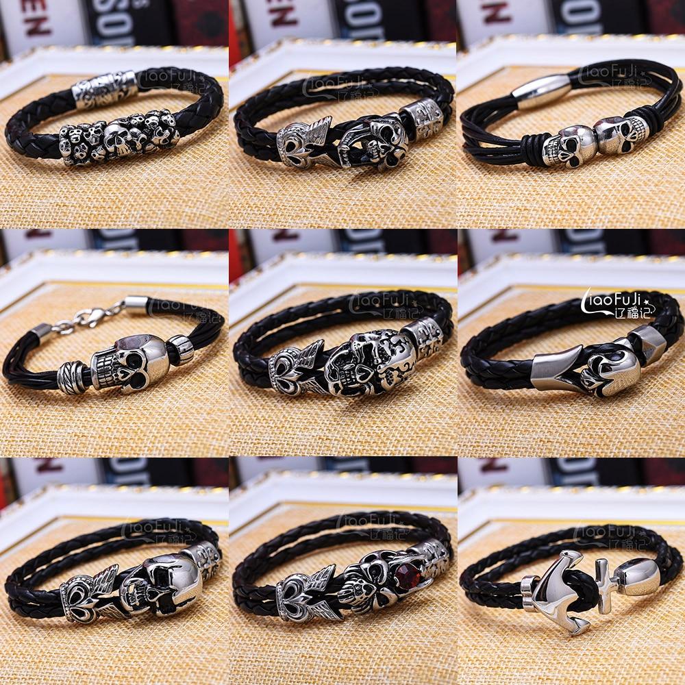 Fashion Men Bracelet Stainless Steel Skull Black Braided Rope Leather Chain Magnet Bracelets Punk Rock Style Bangle Jewelry