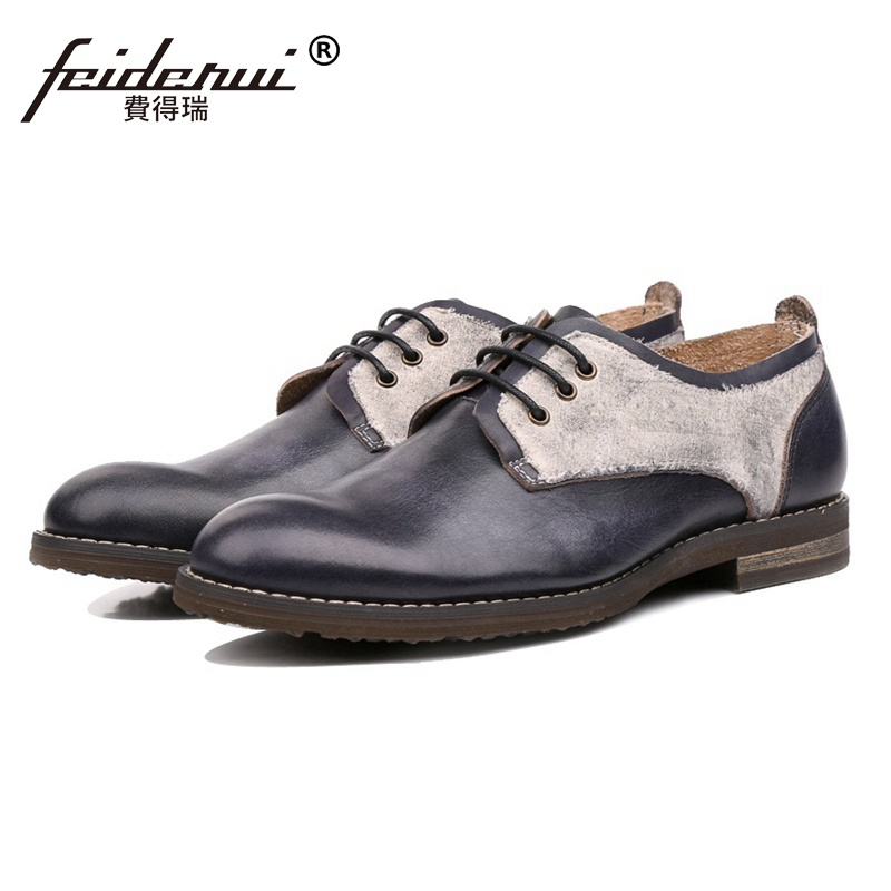 New Fashion Genuine Leather Wedding Party Men's Handmade Footwear High Quality Round Toe Man Formal Dress Office Shoes SS32