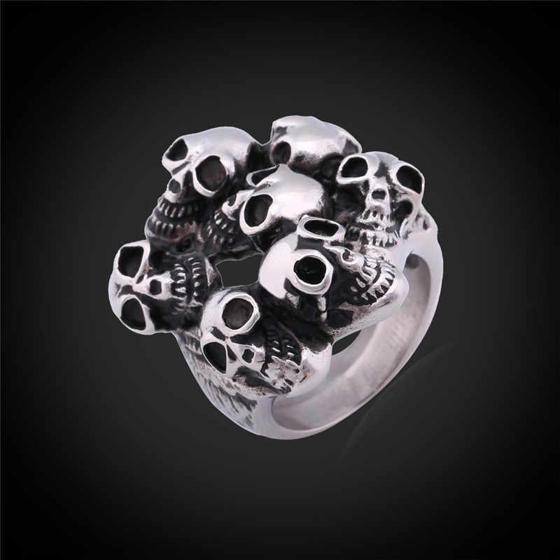 Anéis legais para Homens Nunca Desaparecer de Aço Inoxidável Moda Jóias Com Caixa de Presente de Alta Qualidade Esqueleto Crânio Do Vintage Anel R994