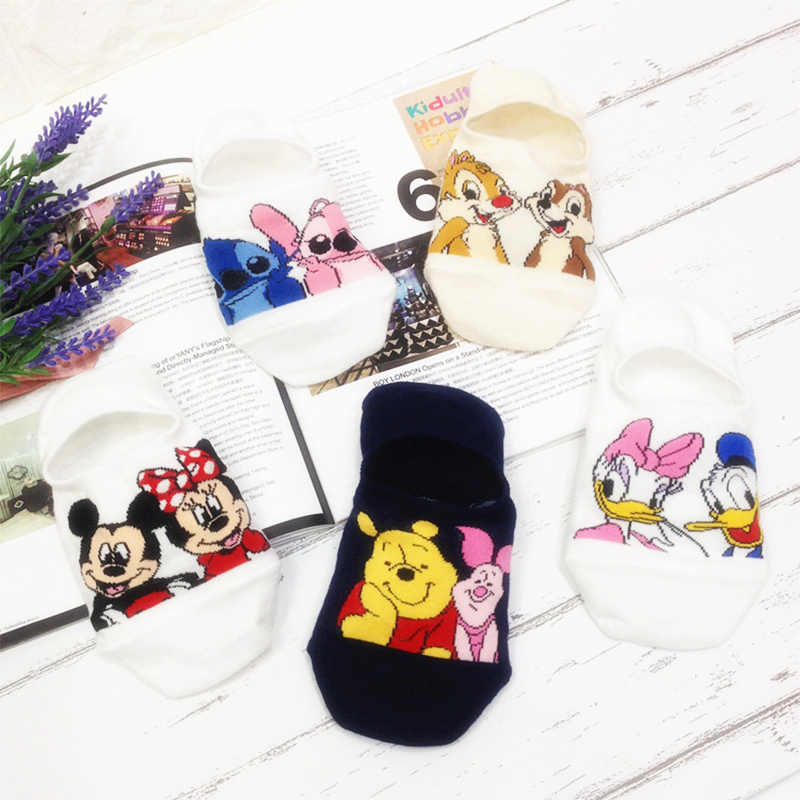 Summer Women Socks Cute Animal Cartoon Mouse Bear Ankle Socks Thin Cotton Invisible Slippers Funny Short Boat Socks for  Female