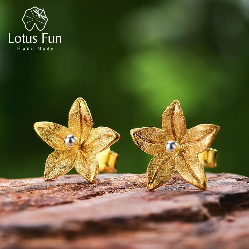 Lotus Fun Real 925 Sterling Silver Natural Original Handmade Fine Jewelry Fresh Flower Fashion Stud Earrings For Women Brincos