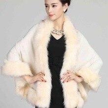 #2904 Jaqueta feminina inverno 2016 Winter Luxury Knitting shawl collar Pashiminas for women Ponchos and capes Faux fur shawl
