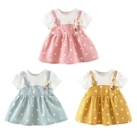 6M 3Years 2019 Fashion Summer Baby Girl Cute Princess Dress Fake 2 Piece Toddler Dot Pattern Short Sleeve Cotton Sundress