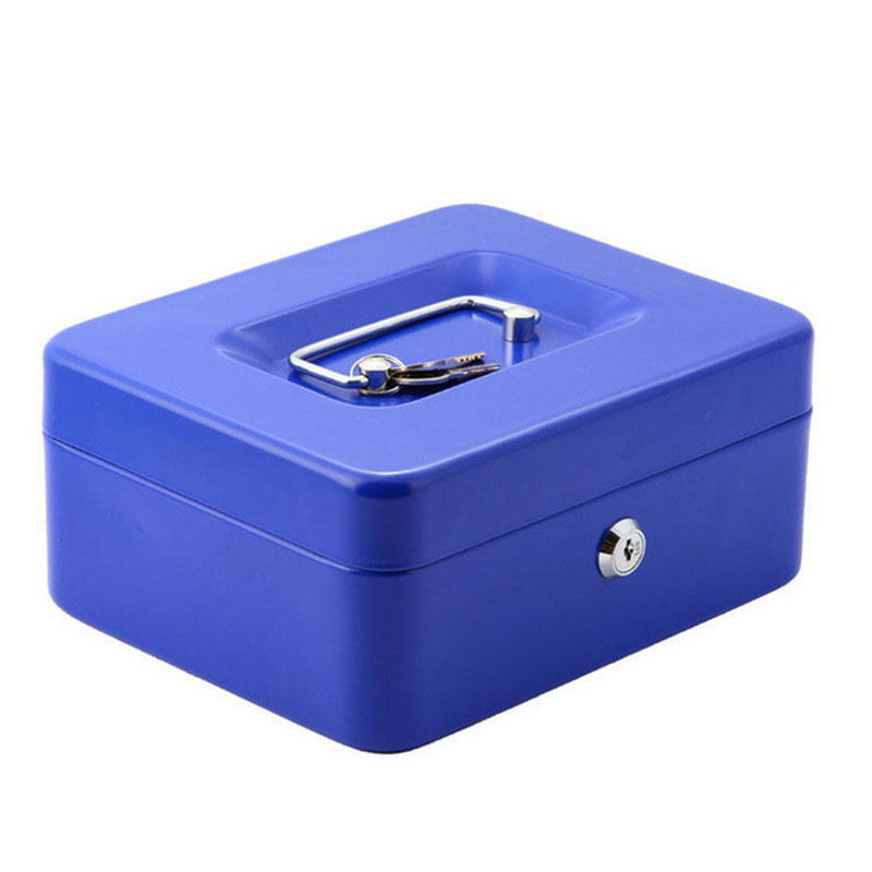 Portable Safe Box Money Jewelry Storage Collection Box For Home School Office With Compartment Tray Lockable Security Box Size M giantree portable money box 6 compartments coin steel petty cash security locking safe box password strong metal for home school