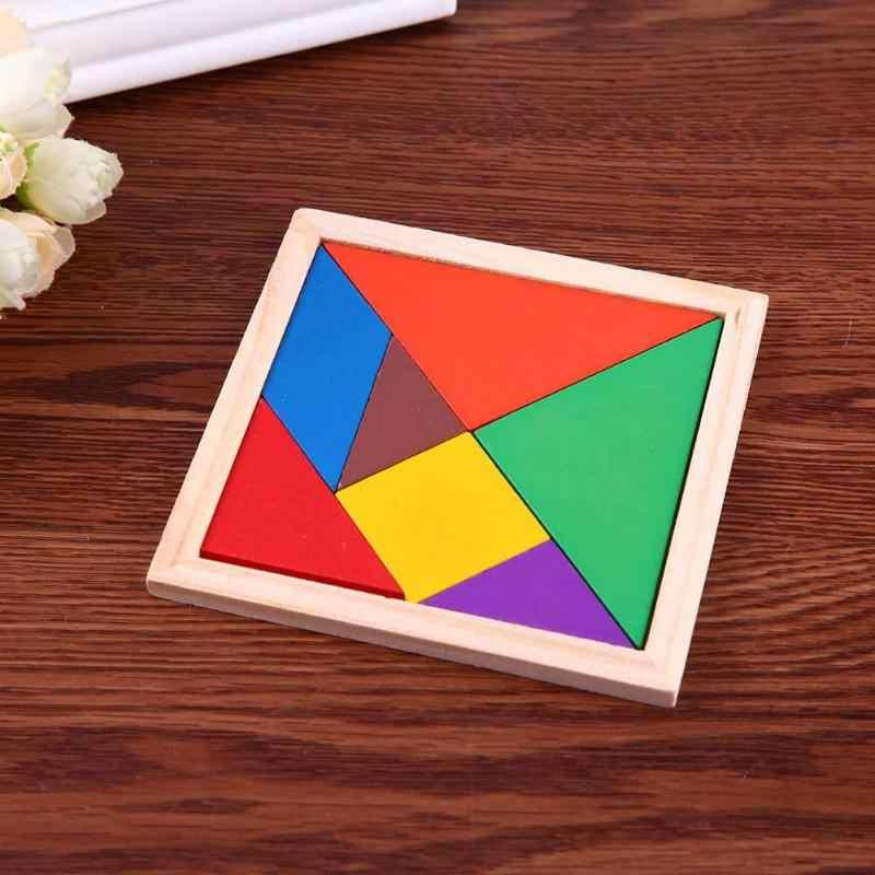 Dzieci kolorowe układanka do własnoręcznego wykonania drewniane zabawki dzieci rozwój psychiczny Tangram drewniane wczesne zabawki edukacyjne dla dzieci