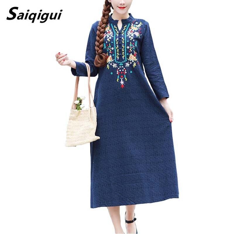 Saiqigui 2019 Chinese Style Spring Dress Women Dress Long Sleeve Casual Loose Embroidery Cotton Linen Dress Vestidos De Festa