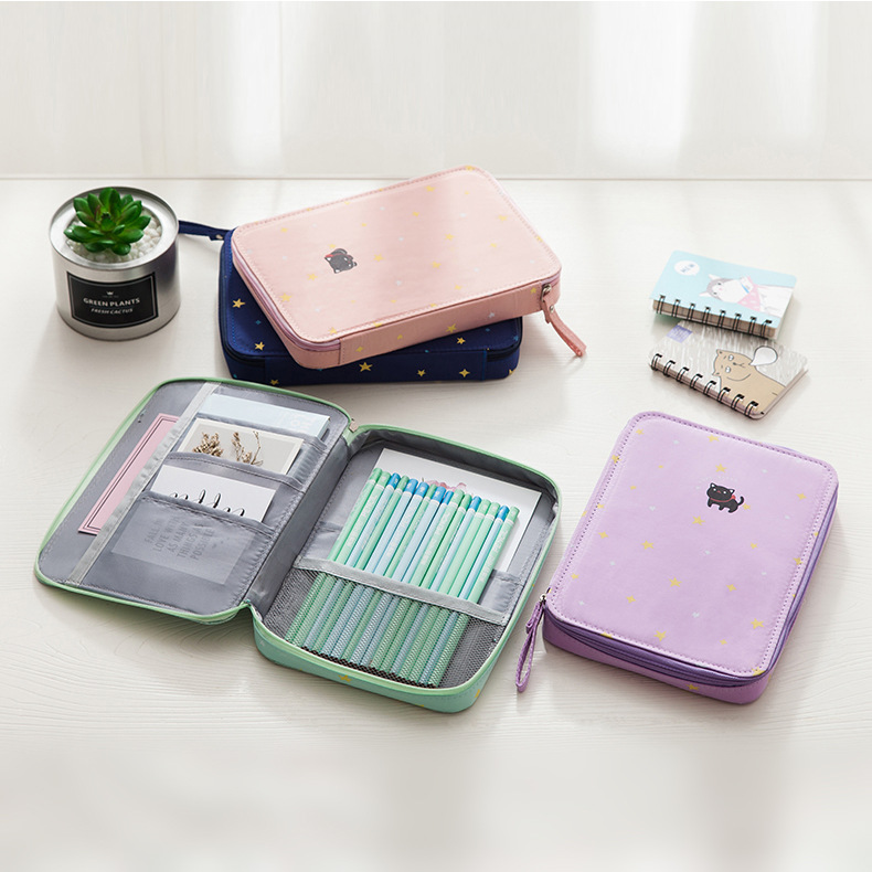 Pencil Case Multi-function Large Capacity Pen Box Storage Bag Cute Canvas Pouch Ipad Phone Passport School Office Stationery cute cat pen holders multifunctional storage wooden cosmetic storage box memo box penholder gift office organizer school supplie