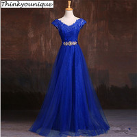 Elegant V Neck Wine Red Appliques Lace Evening Dresses Crystal Robe De Soiree Longo Design vestidos de festa TK1210