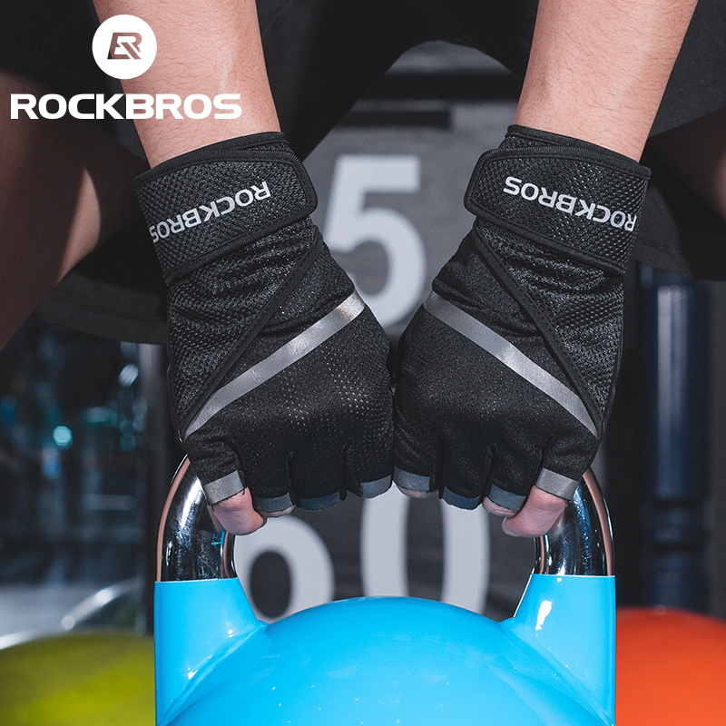 ROCKBORS Gym Anti Slip Weight Lifting Fitness Gloves Half Finger Fitness Sports Protective Gloves Body Building Male Hand Mitten