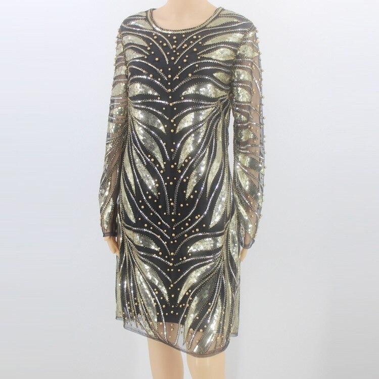 02f5b3ddc8a9 Abito 1920 Vestido Da Lusso Perline Partito A Oro S Paillettes Trapezio  Vintage Lunga Donna Vestito Manica ...