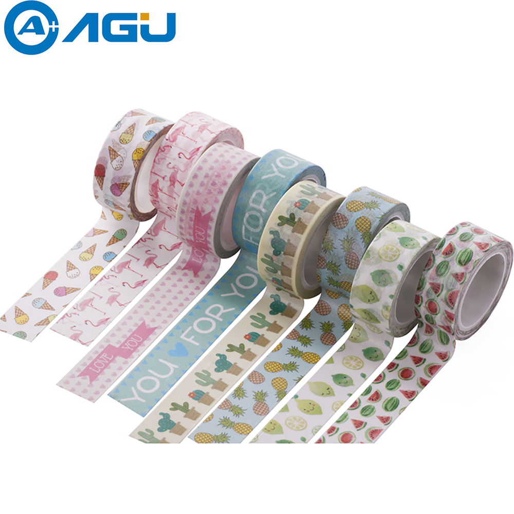 decorative office supplies. AAGU 1PC 15mm*5m Unicorn Flamingo Washi Tape Watermelon Adhesive Paper School Office Supplies Decorative E