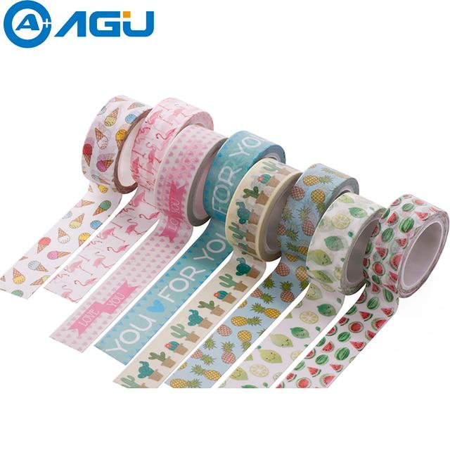 decorative office supplies. AAGU 1PC 15mm*5m Unicorn Flamingo Washi Tape Watermelon Adhesive Paper School Office Supplies Decorative B