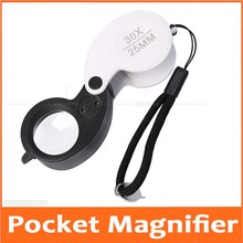 30X 25mm Foldable Illuminated Pocket Magnifier Jewelry Gem Identifying Type Inspecting Magnifying Glass Loupe with LED Lights