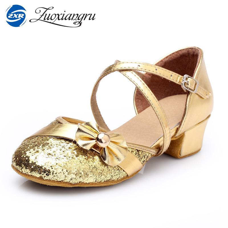 Ballroom Latin Dance Shoes Kids Girl Hot Selling Ballroom Dancing Shoes For Women Ladies Knot Tango Salsa Shoes Low Heeled